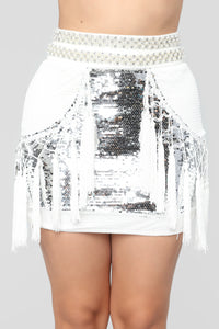 Popularity Fringe Sequin Set - White/Silver