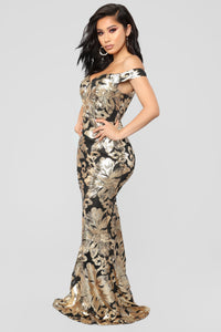 Never Forgotten Sequin Dress - Black/Gold
