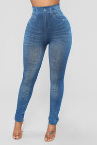 Shantelle Denim Print Leggings - Blue