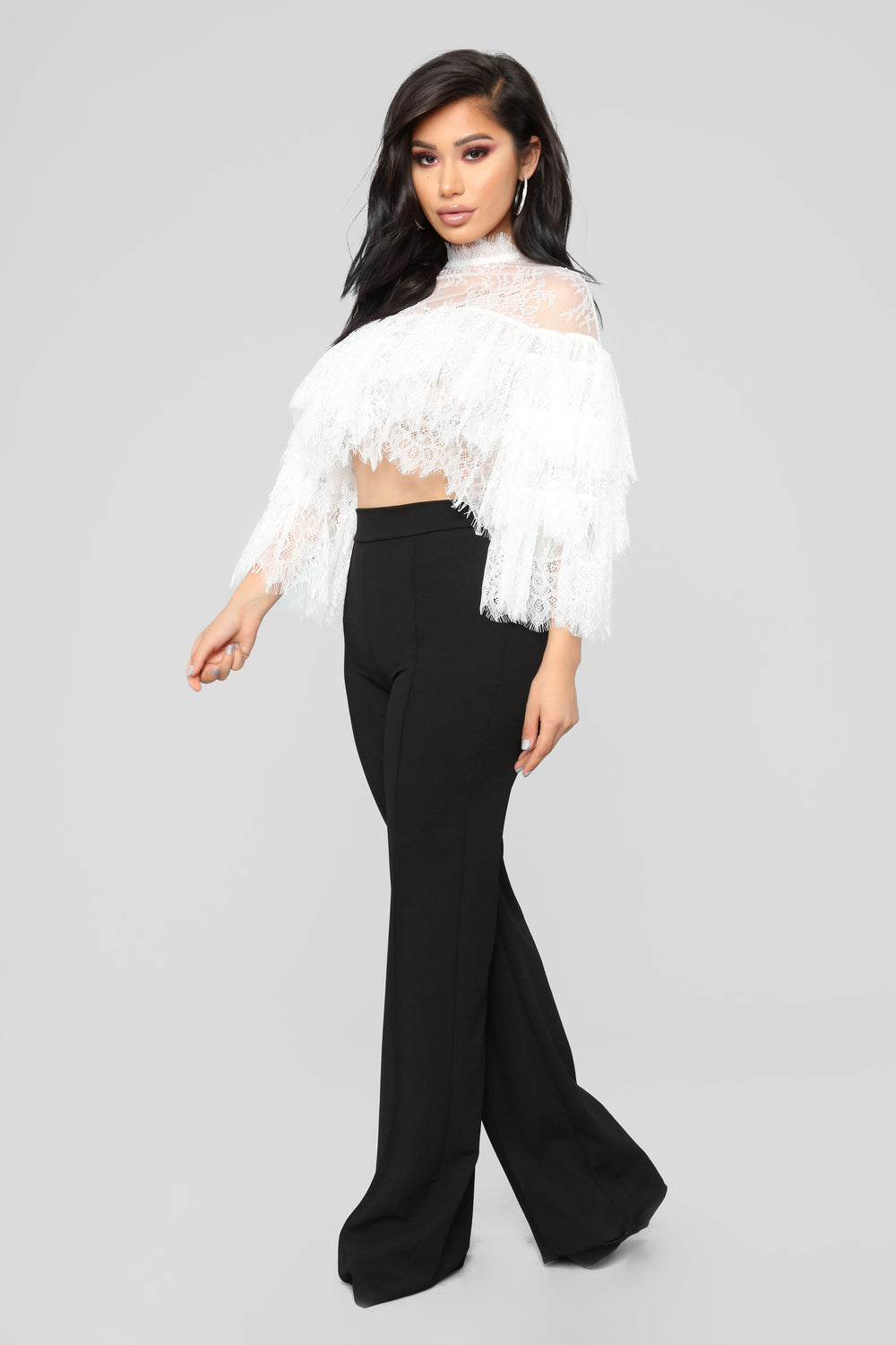 Midnight Kiss Ruffle Top - White