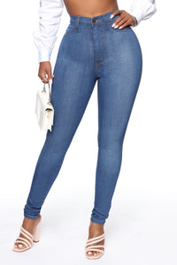 Classic High Waist Skinny Jeans - Medium Blue Wash Angle 3