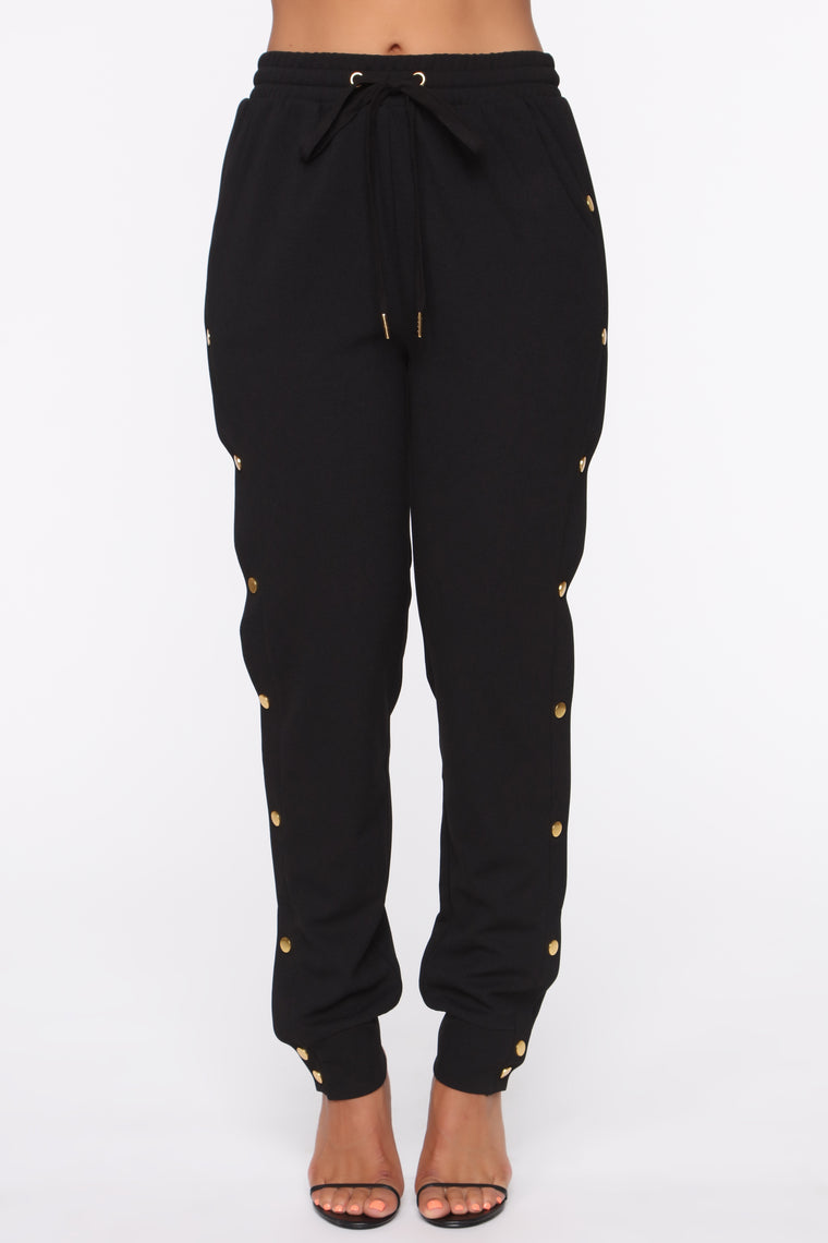 Button Up High Rise Joggers - Black