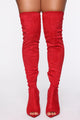 Famously Over The Knee Heeled Boot - Red
