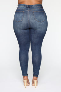 Pour Me A Glass Skinny Jeans - Dark Blue Wash Angle 5