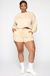 Made A Deal Lounge Shorts - Tan Angle 7