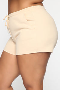 Made A Deal Lounge Shorts - Tan Angle 9