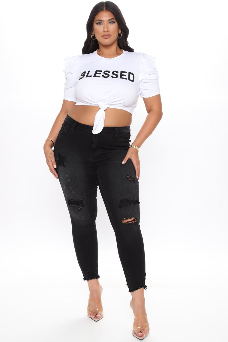 Boujee And Blessed Top - White