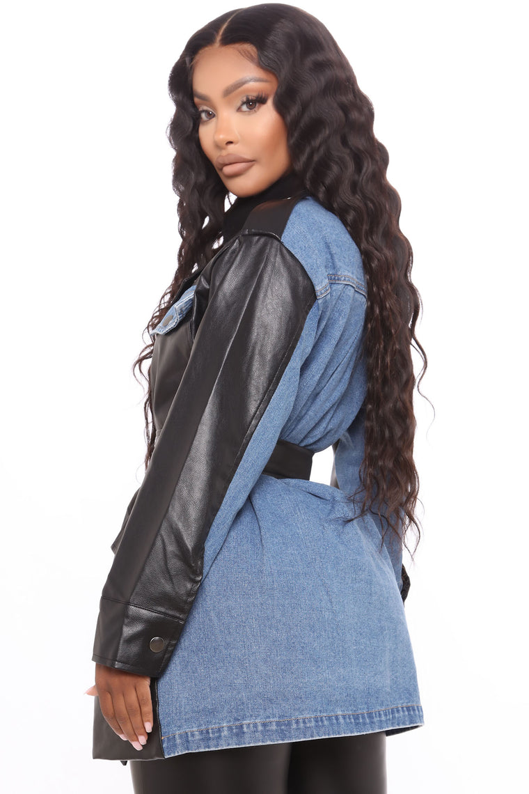 Choose Faux Denim Jacket - Black/combo