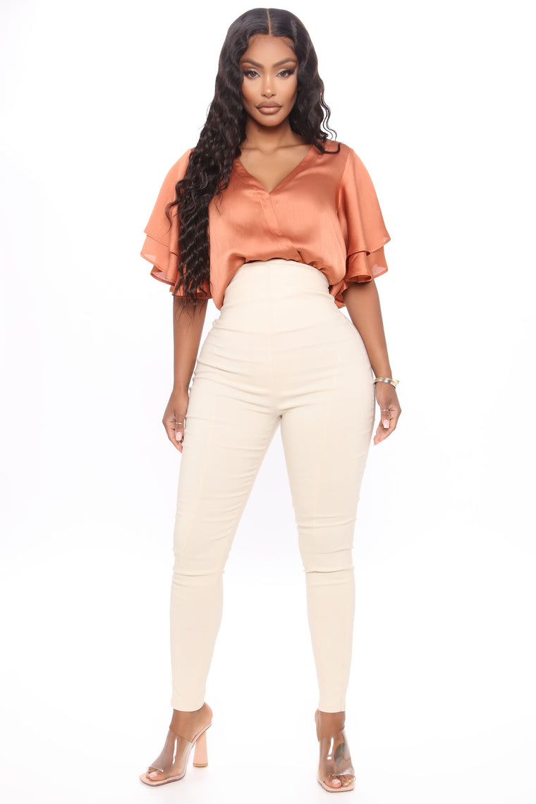 Can't Resist Super High Waisted Pants - Beige