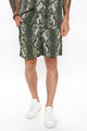 Jim Snake Print Short - Green/combo