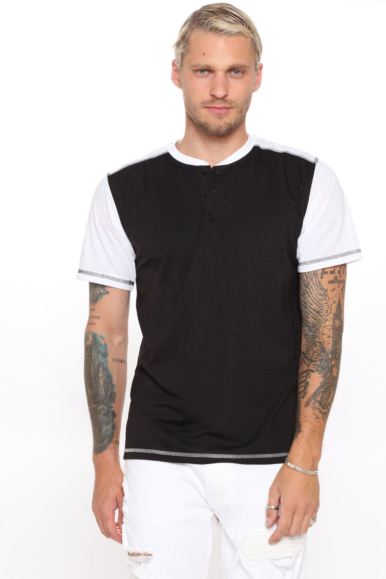 Harvey Two Tone Henley - Black/White