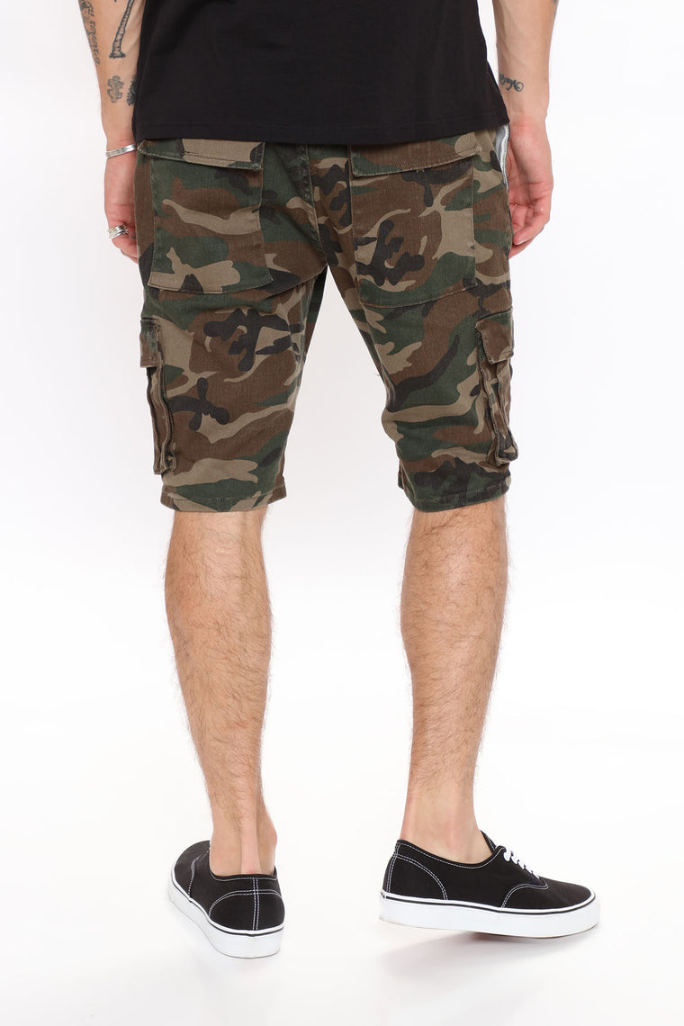 For The Gram Cargo Denim Shorts - Camouflage