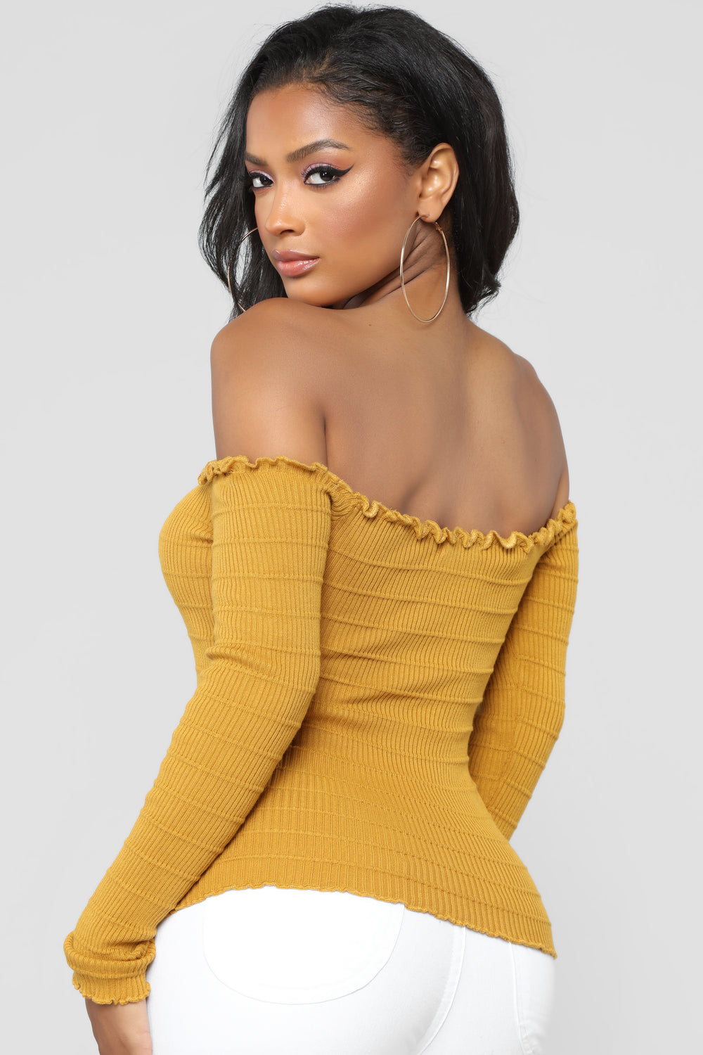Bellami Off The Shoulder Long Sleeve Sweater - Mustard