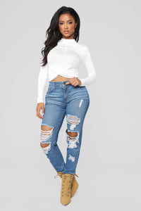 Marine Front Twist Mock Neck Top - Off White