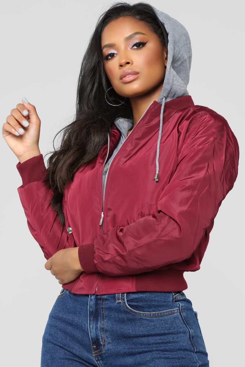 Tamara Hooded Bomber - Burgundy