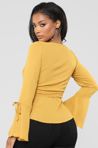 In Love Again Surplice Top - Mustard