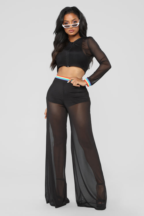 Don't Break My Heart Pant Set - Black