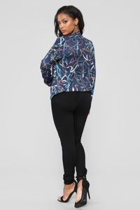 Lasso You Over Blazer - Navy/Multi