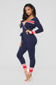 Gone For The Weekend Jumpsuit - Navy/Red