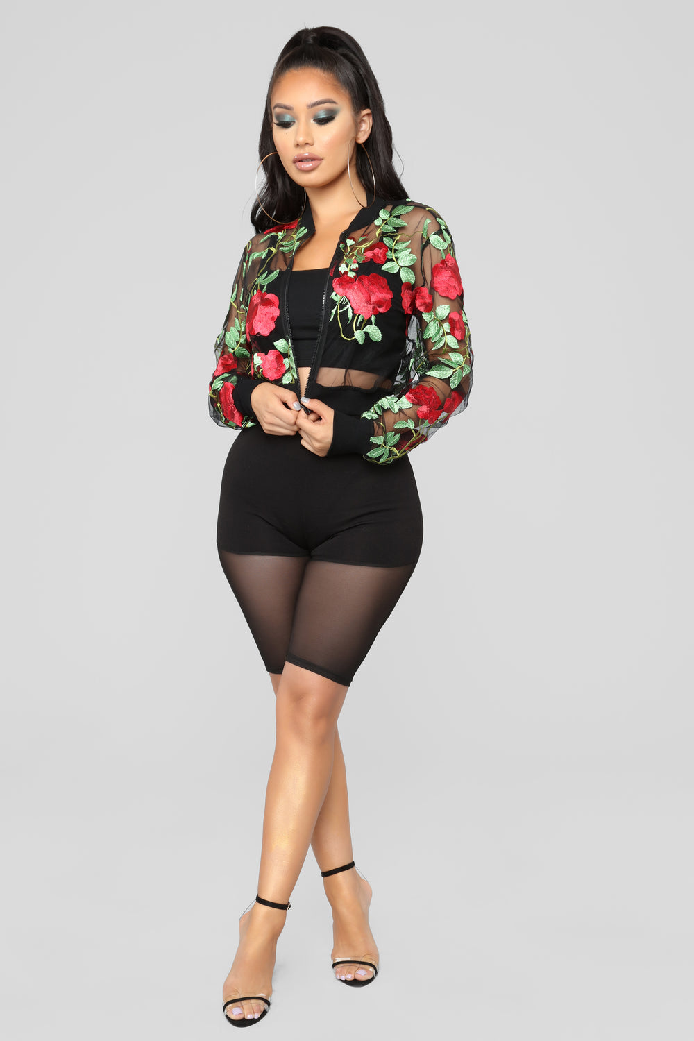 Embroidered Rose Mesh Bomber - Black
