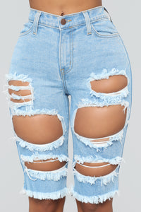 Giving Your Side Eye Distressed Bermuda Shorts - Light Blue