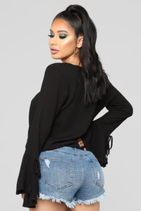 Time To Move On Surplice Top - Black