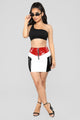 Boombastic Colorblock Skirt - Burgundy/Combo