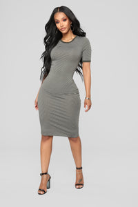 Just The Girl Striped Dress - Olive/White
