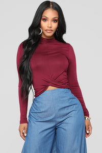 Marine Front Twist Mock Neck Top - Burgundy