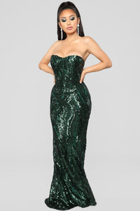 Glistening Moments Maxi Dress - Emerald
