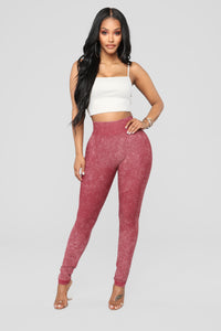 Gabbie Moto Leggings - Brick Red