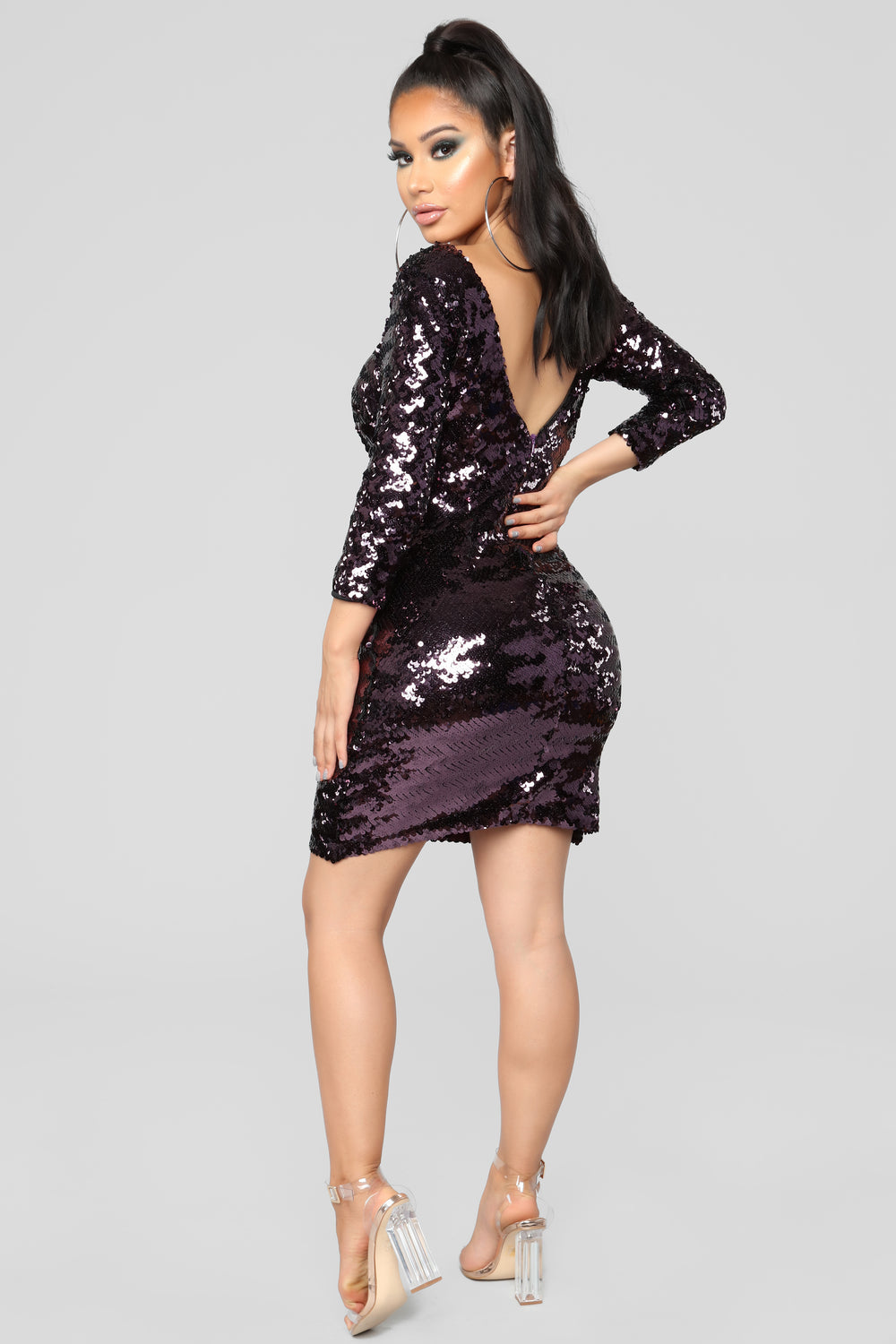 Feel The Love Midi Dress - Eggplant