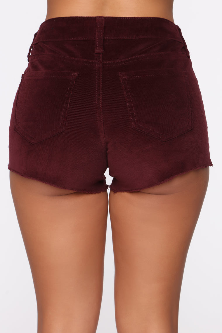 Dip It Low Rise Corduroy Shorts - Burgundy
