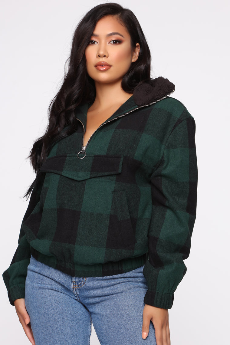 Checked Out Pullover Jacket   Green by Fashion Nova