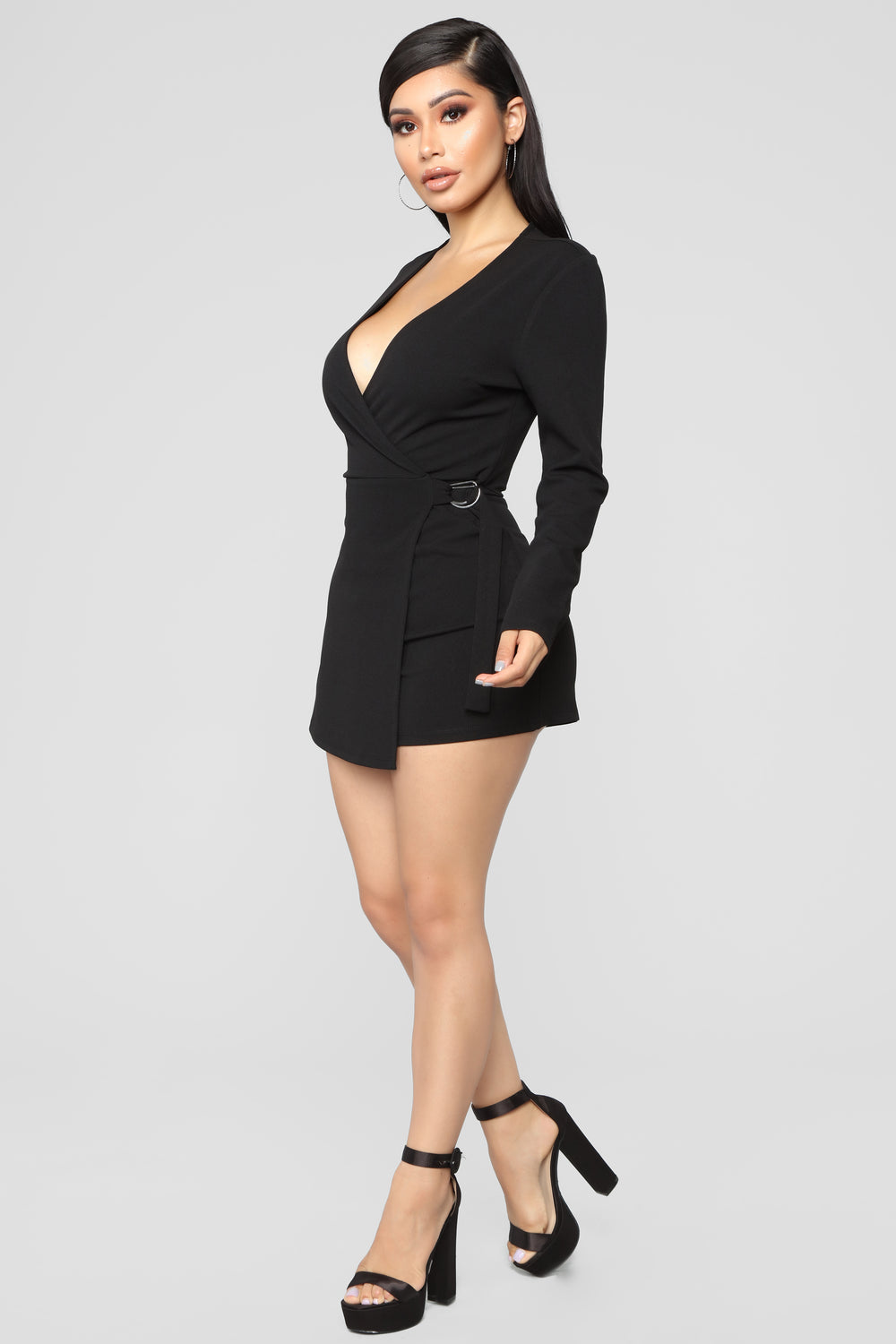 The Night Has Just Begun Romper - Black