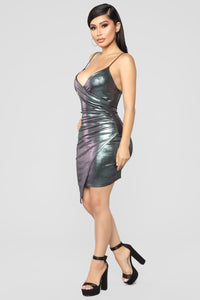 Midnight Hour Metallic Dress - Silver