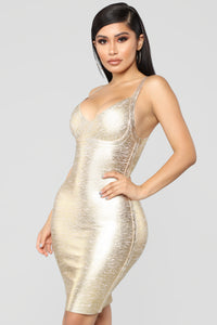 Metallic Soul Mini Dress - Gold
