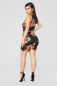 Floweret Mini Dress - Black