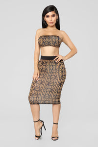 Gina Skirt Set - Camel/Black