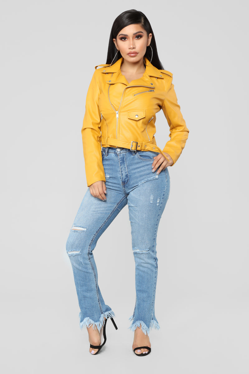 She Ready Moto Jacket - Mustard
