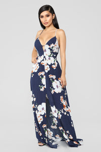 Sun City Floral Dress - Navy
