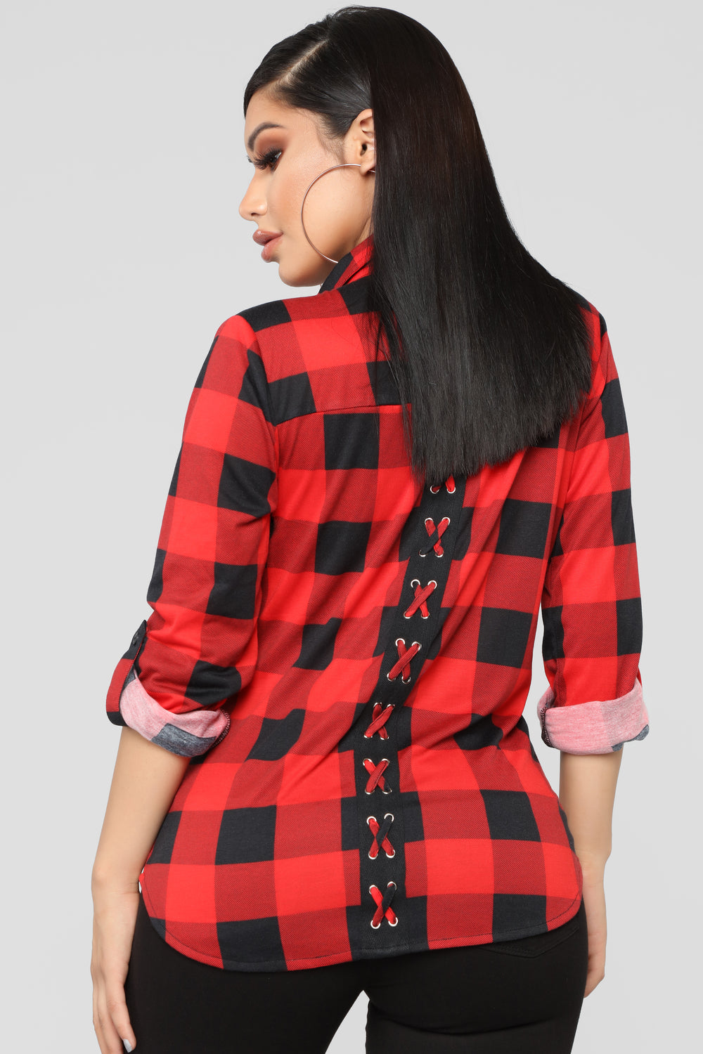 Soul Mate Black Plaid Top - Black/Red