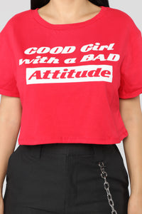 Good Girl, Bad Attitude Tee - Red