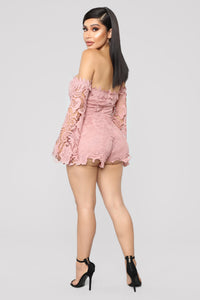 First Kiss Long Sleeve Romper - Mauve