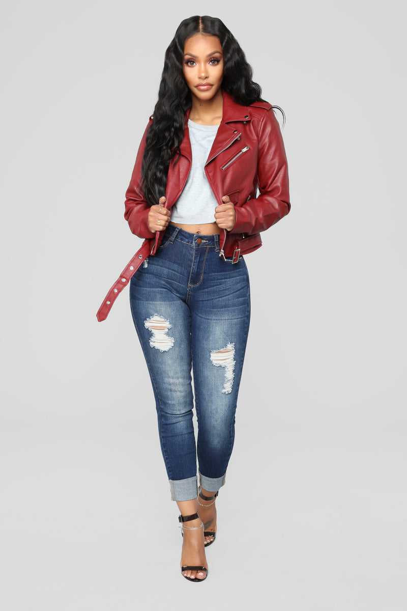 She Ready Moto Jacket - Red
