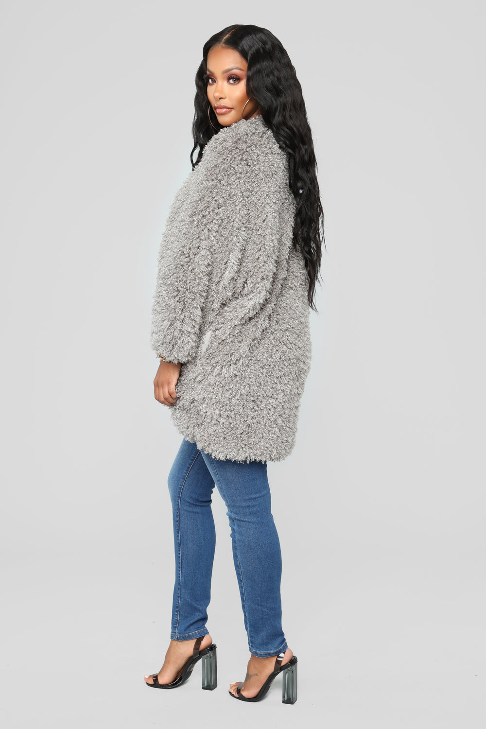 Warm Embrace Faux Fur Jacket - Grey