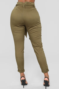Here's The News High Rise Pants - Green