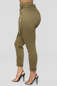 Here's The News High Rise Pants - Green Angle 4