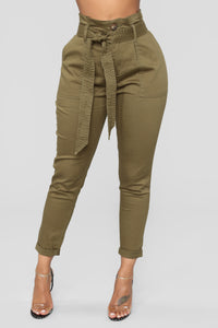 Here's The News High Rise Pants - Green Angle 1