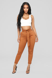 Here's The News High Rise Pants - Cognac